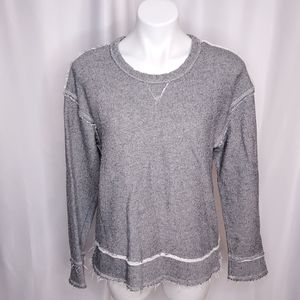 Nation LTD Raglan Raw Edge marled sweatshirt sz S